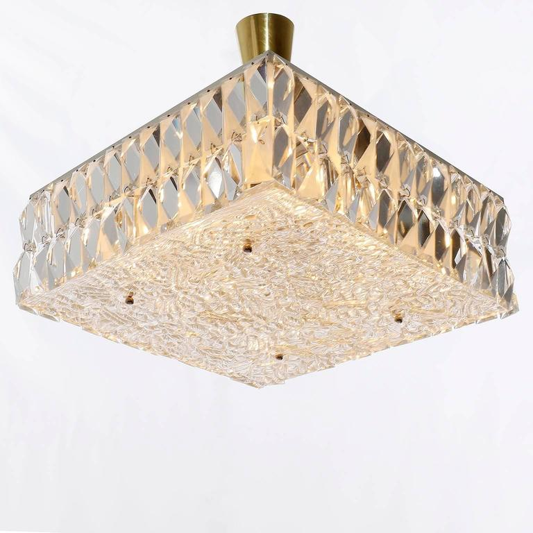 Mid-20th Century Square Kalmar Light Fixture, Textured and Crystal Glass, 1960s For Sale