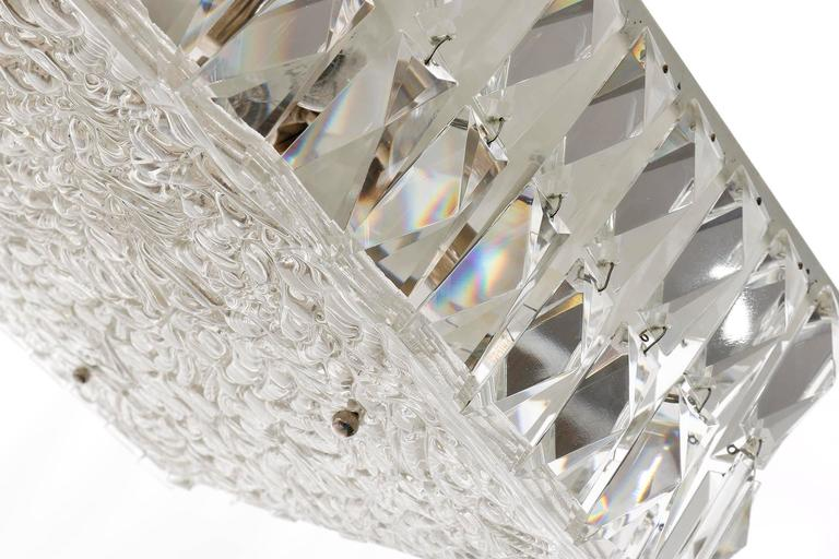 Metal Square Kalmar Light Fixture, Textured and Crystal Glass, 1960s For Sale