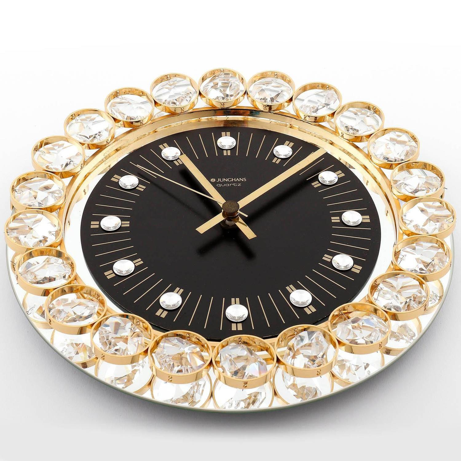 Wall Clock by Junghans, Germany, Gold Crystal Glass Mirror ...