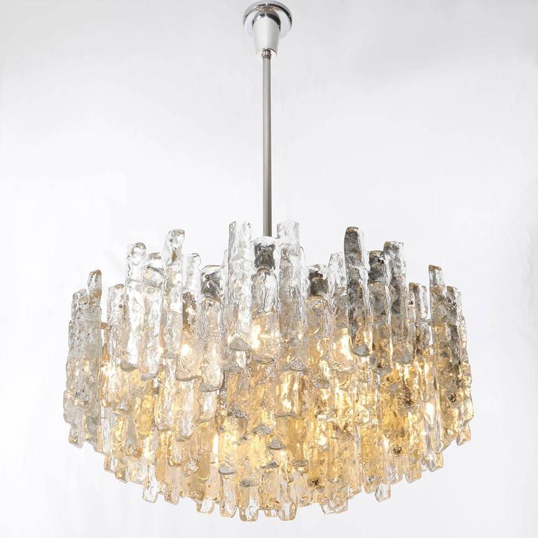 Four Large Kalmar Chandeliers, Ice Glass and Nickel, 1960s 8