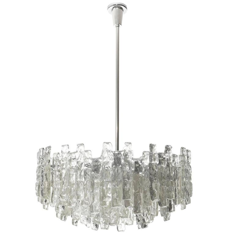 Four Large Kalmar Chandeliers, Ice Glass and Nickel, 1960s 2