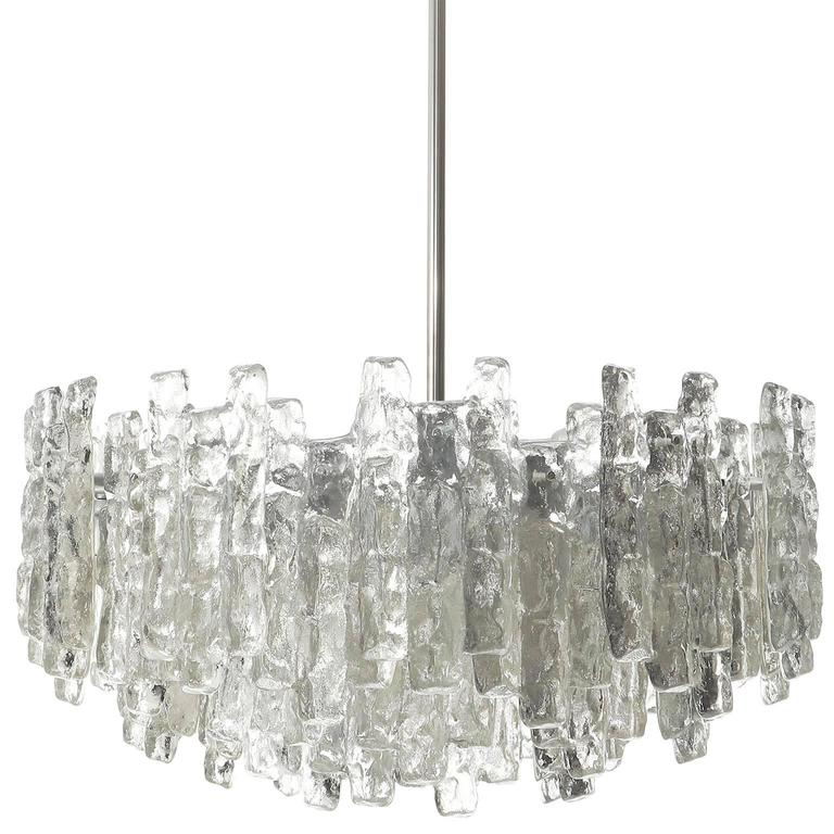 Four Large Kalmar Chandeliers, Ice Glass and Nickel, 1960s 4