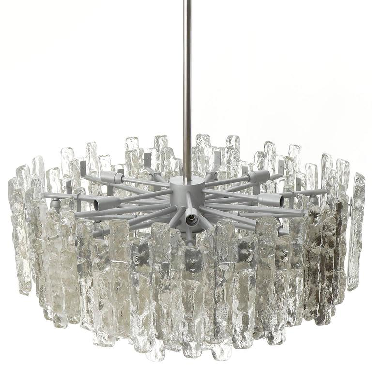 Four Large Kalmar Chandeliers, Ice Glass and Nickel, 1960s 7