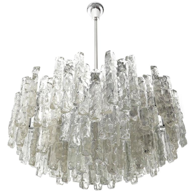 Four Large Kalmar Chandeliers, Ice Glass and Nickel, 1960s 5