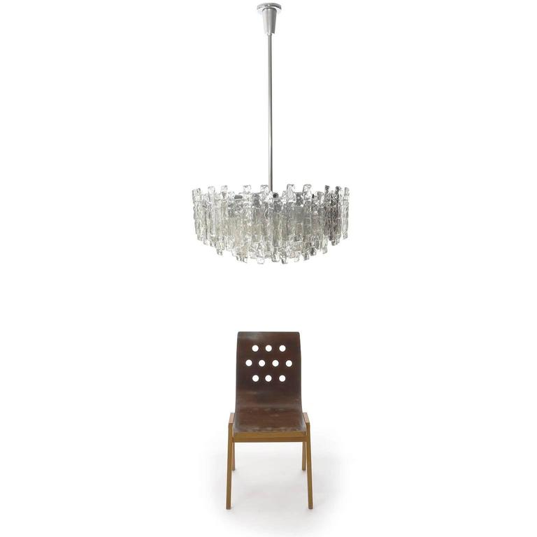 Four Large Kalmar Chandeliers, Ice Glass and Nickel, 1960s 3