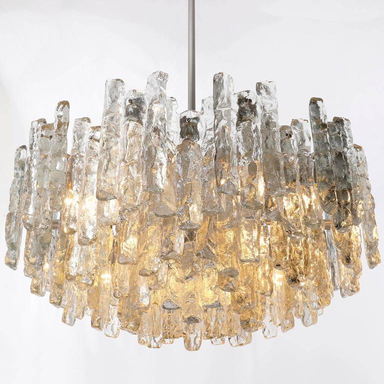 Four Large Kalmar Chandeliers, Ice Glass and Nickel, 1960s 9