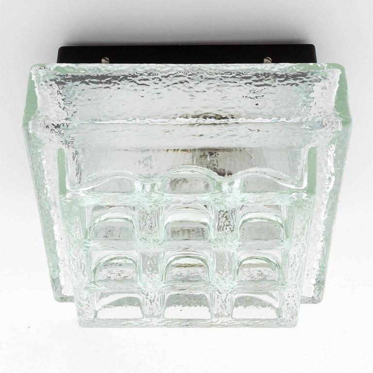 German One of Five Square Limburg Textured Glass Flush Mount Lights or Sconces, 1970 For Sale