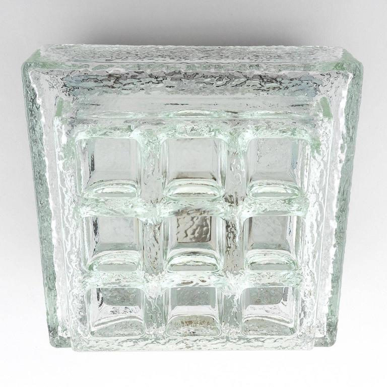 Mid-Century Modern One of Five Square Limburg Textured Glass Flush Mount Lights or Sconces, 1970 For Sale