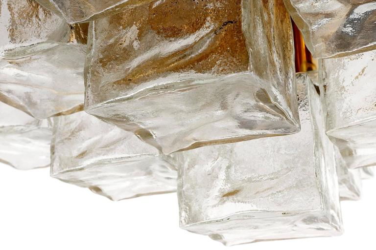 Square Kalmar Flush Mount Light or Sconce, Brass Cast Ice Glass, 1970, 1 of 5 For Sale 1