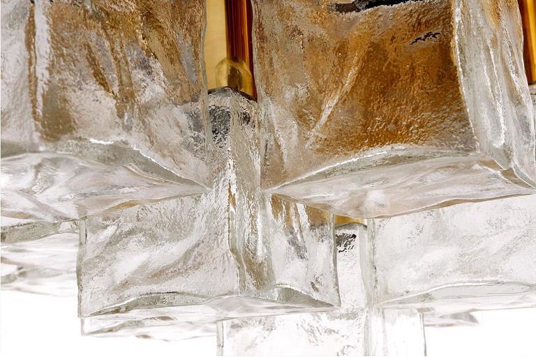 Square Kalmar Flush Mount Light or Sconce, Brass Cast Ice Glass, 1970, 1 of 5 For Sale 2
