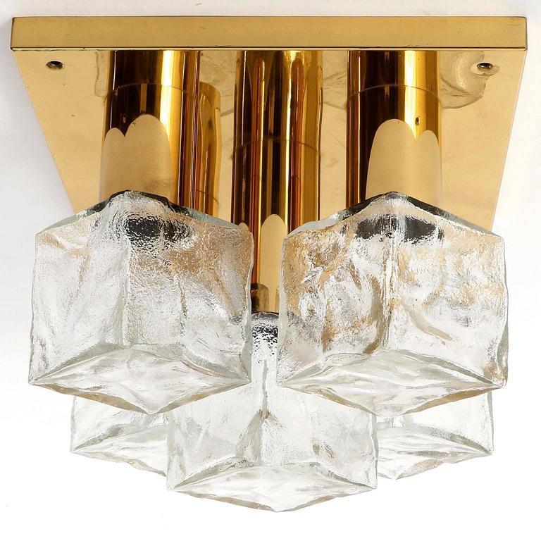 Square Kalmar Flush Mount Light or Sconce, Brass Cast Ice Glass, 1970, 1 of 5 For Sale 3
