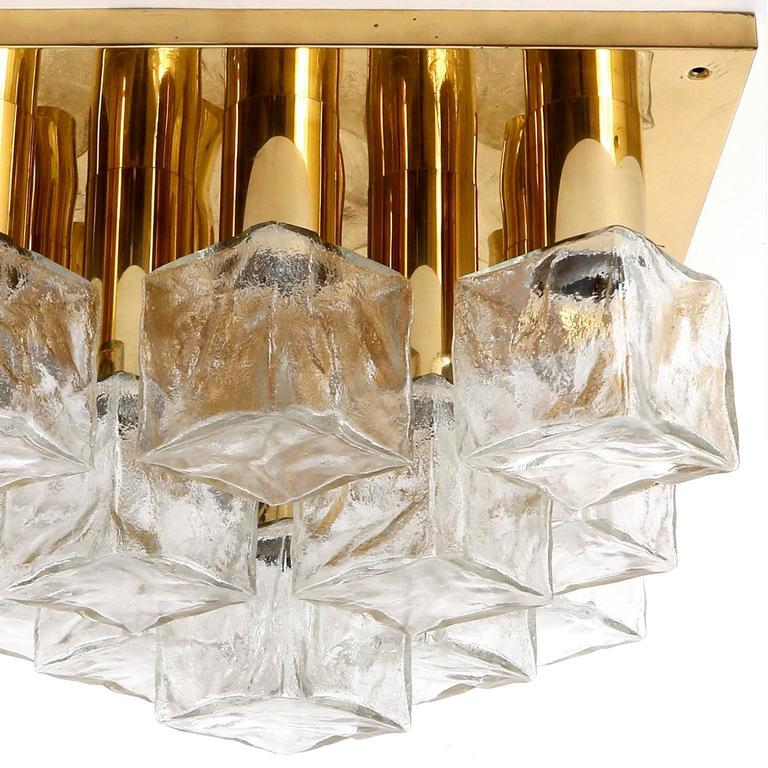 Late 20th Century Square Kalmar Flush Mount Light or Sconce, Brass Cast Ice Glass, 1970, 1 of 5 For Sale