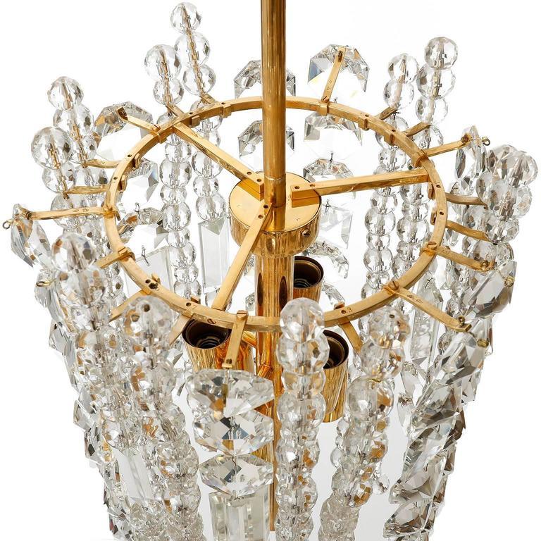 Bakalowits Kronleuchter Pendelleuchte, Vergoldetes Messing Kristallglas, 1960er Jahre 9