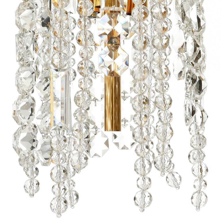 Bakalowits Kronleuchter Pendelleuchte, Vergoldetes Messing Kristallglas, 1960er Jahre 8