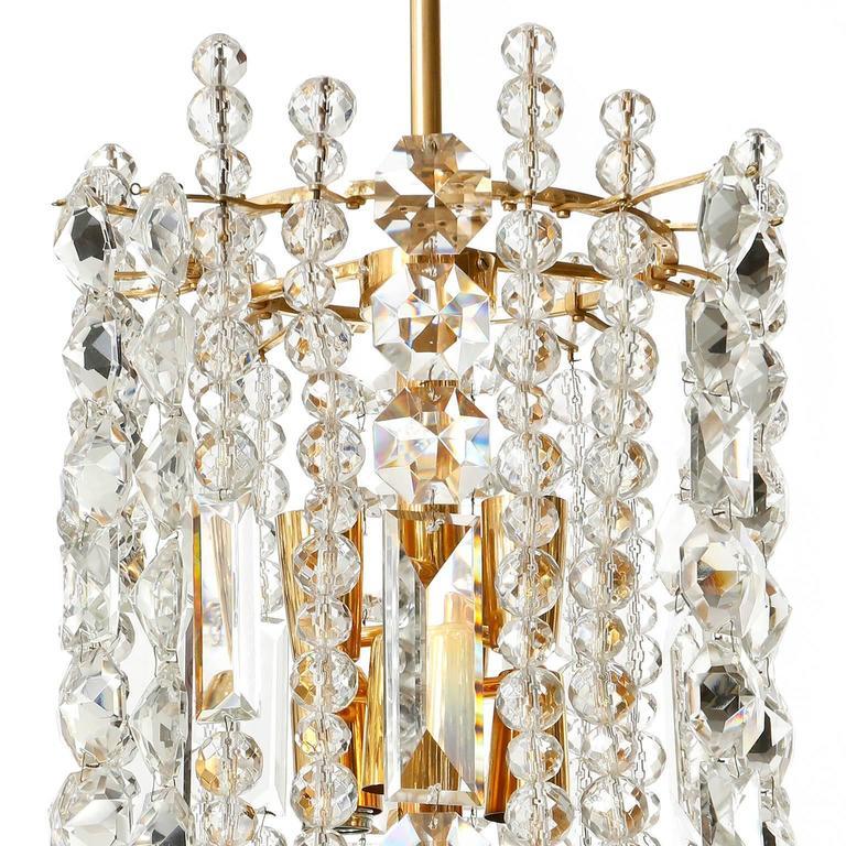 Bakalowits Kronleuchter Pendelleuchte, Vergoldetes Messing Kristallglas, 1960er Jahre 7
