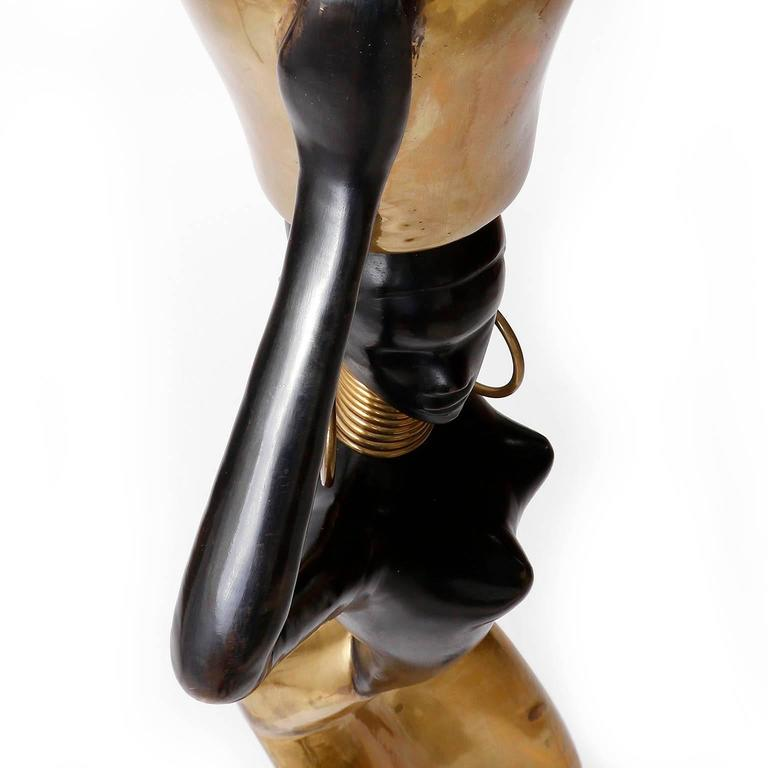 Human Size African Woman Sculpture Figurine, Polished and Blackened Brass, 1950 For Sale 4