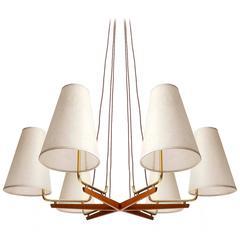 Pendant Light Chandelier 'Holzstern' by J.T. Kalmar, Brass Walnut Wood, 1950s
