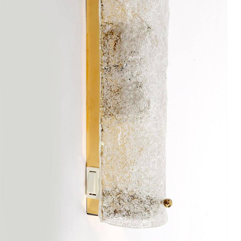 Large Glass Wall Lights : Large Sconces Wall Lights by Hillebrand, Brass Glass, 1970 For Sale at 1stdibs