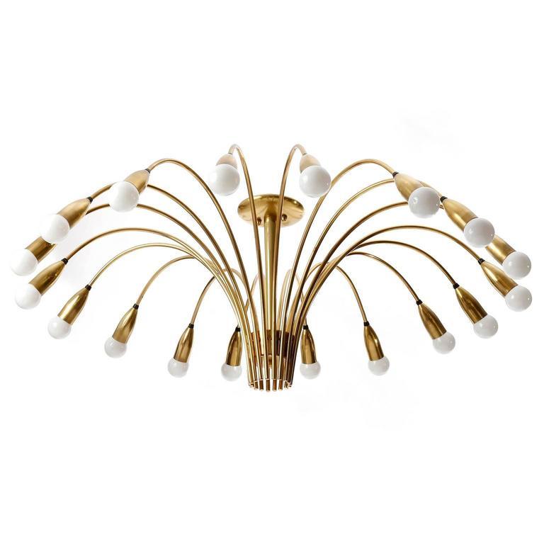 Mid-20th Century Huge Brass Flush Mount Light Fixture, Spider Sputnik Chandelier, 1960 For Sale