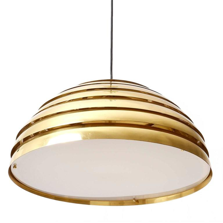 Polished Two Large Dome Pendant Lights, Brass Plexiglas's Diffuser, Florian Schulz, 1970s For Sale