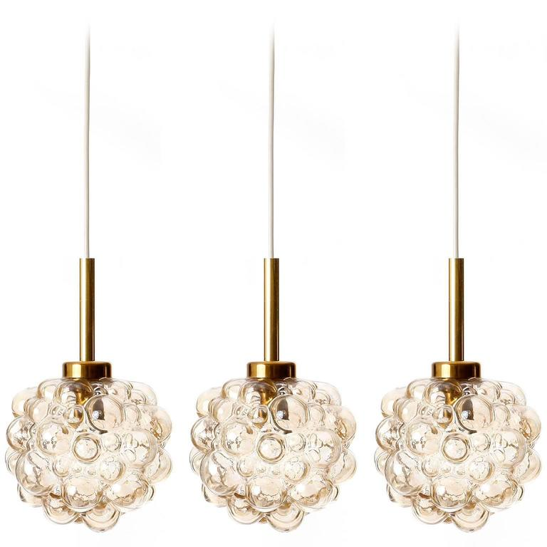 Three-Pendant Lights, Helena Tynell for Limburg, Brass Amber Bubble Glass, 1970