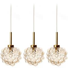 Three-Pendant Lights, Helena Tynell for Limburg, Brass Amber Bubble Glass, 1970