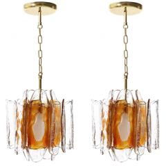 Pair of Kalmar Pendant Lights, Orange Murano Glass Brass, 1970s