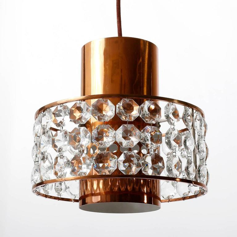 Austrian Three Bakalowits Pendant Lights Lanterns, Copper Nickel Crystal Glass, 1960s For Sale