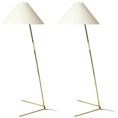 Two Kalmar Brass Floor Lamps 'Rabbit' no. 2084, 1953