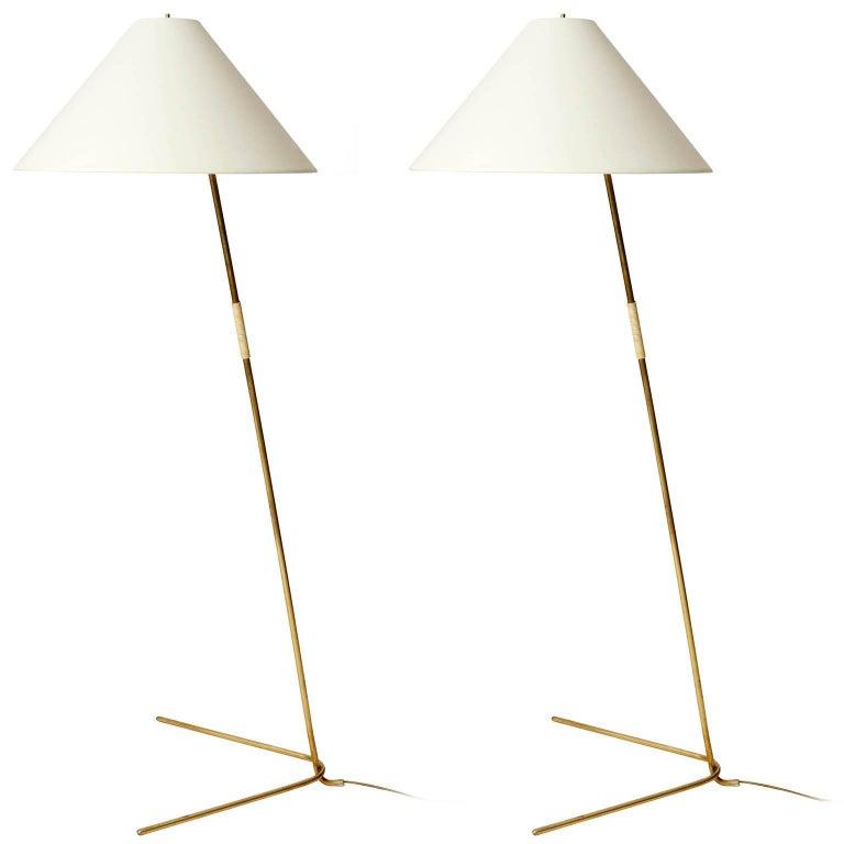 Two Kalmar Brass Floor Lamps 'Rabbit' no. 2084, 1953 For Sale