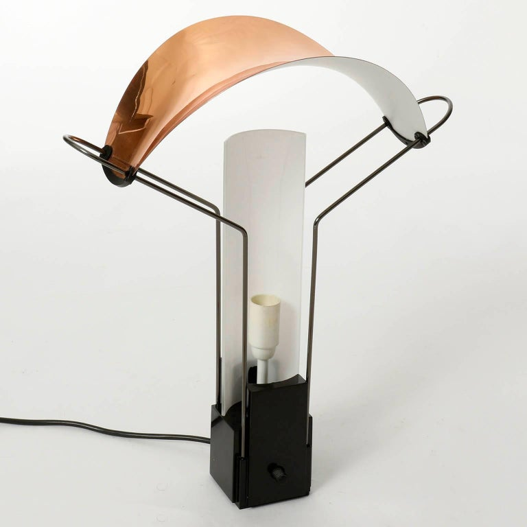 Enameled Table Lamp 'Palio' by Arteluce, Copper Opal Glass, Italy, 1985 For Sale