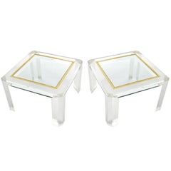 Pair of Lucite Coffee Cocktail Tables, Brass Glass, 1970s