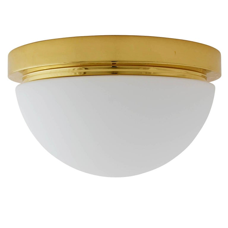 One of Four Limburg Flush Mount or Wall Lights, Brass Opal Glass, 1970s For Sale