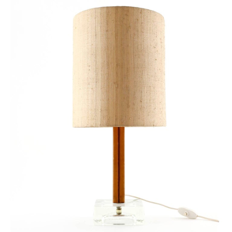 Kalmar Table Lamp, Glass Leather Black Metal, 1960s At 1stdibs