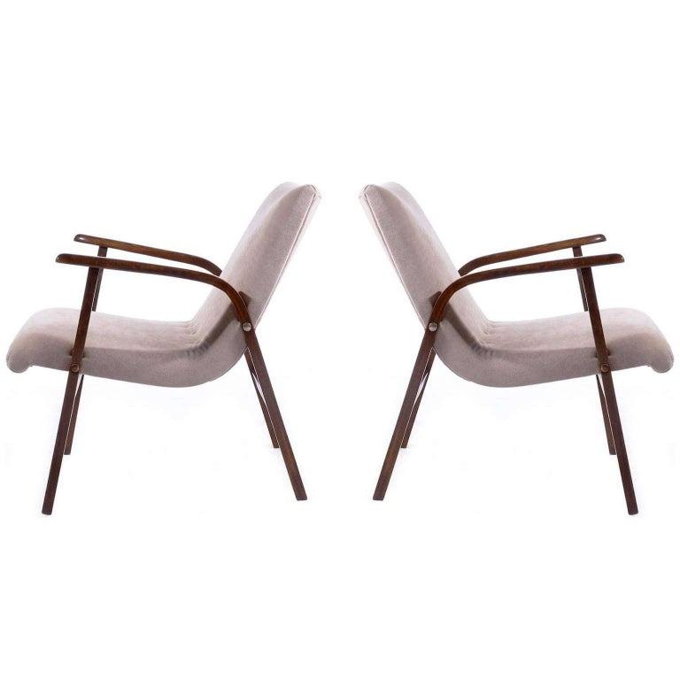 Roland Rainer Chairs Armchairs Cafe Ritter, New Upholstered Velours Velvet, 1952