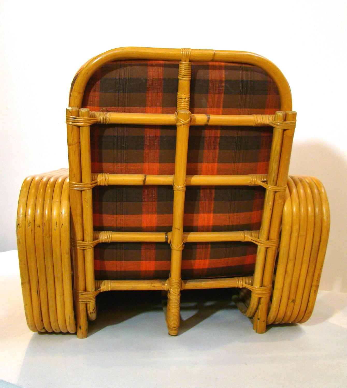 Paul Frankl Style Rattan Club Chair And Ottoman SATURDAY SALE For Sale At 1st