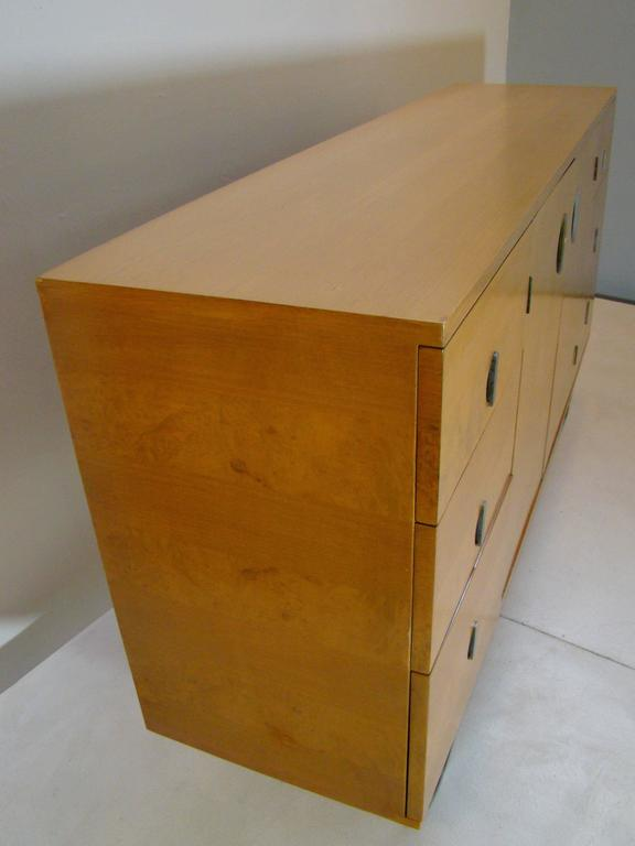 Stunning gilbert rohde for herman miller machine age burl for Burl wood kitchen cabinets