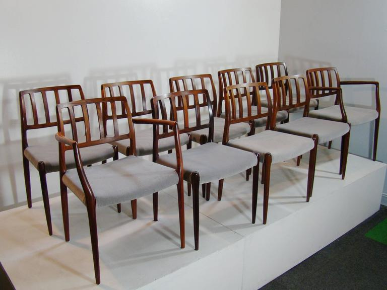 Set Of Ten Very Fine Model 83 Rosewood Dining Chairs, Neils O. Moller U0027