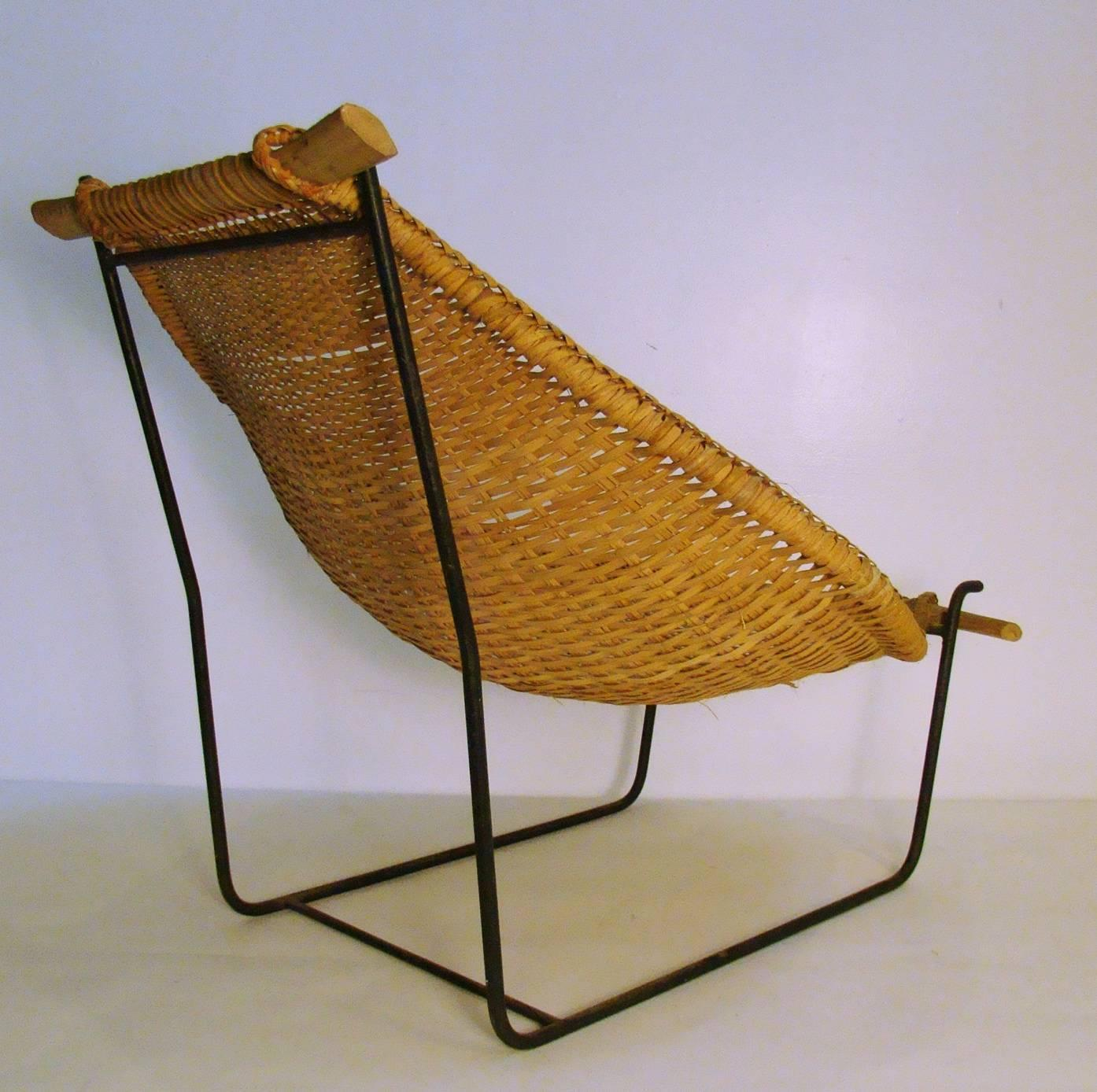 Modernist Organic Bamboo Sling and Wrought Iron Lounge Chair For Sale at 1st