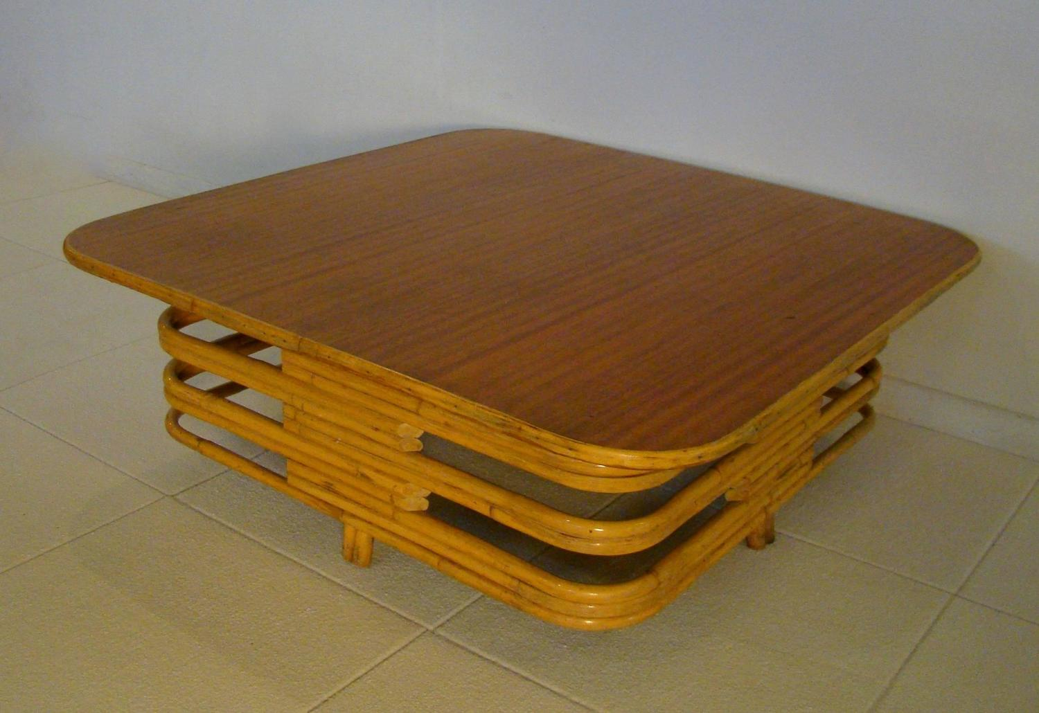 Large Square Rattan Bamboo Stacked Coffee Table For Sale At 1stdibs