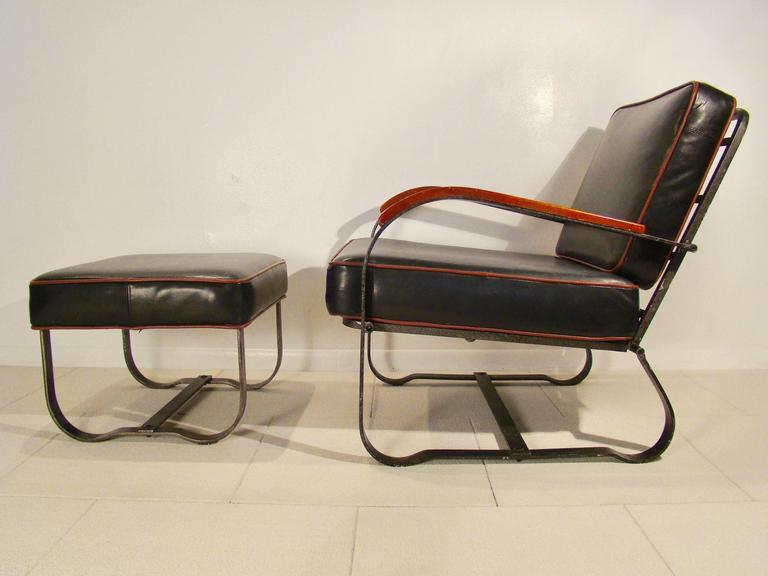 Elusive Art Deco Machine Age Steel Lounge Chair And Ottoman By McKay 2