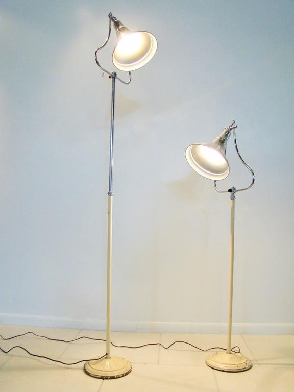 Mid-20th Century Machine Age Art Deco Industrial Medical Aluminium Chrome Floor Lamps For Sale