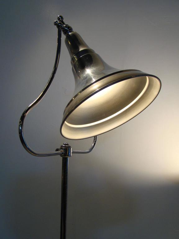 Metal Machine Age Art Deco Industrial Medical Aluminium Chrome Floor Lamps For Sale