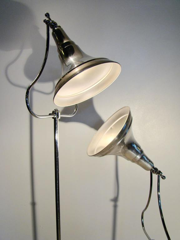 American Machine Age Art Deco Industrial Medical Aluminium Chrome Floor Lamps For Sale