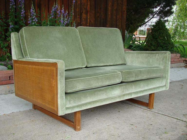 Danish Modern Velvet And Cane Loveseat Or Sofa After Peter Hvidt At 1stdibs