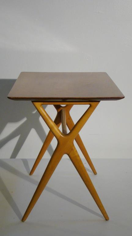 Scissor Leg Side Table Server Attributed To Renzo Rutili