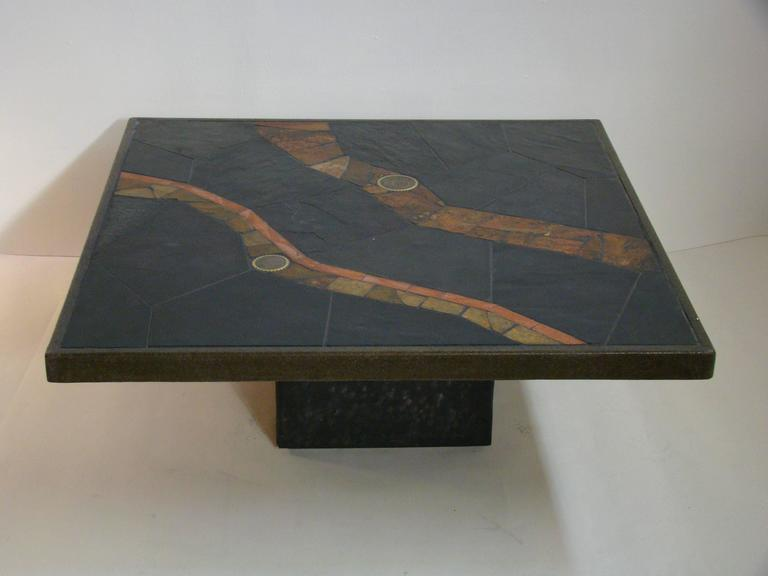 African Slate Mosaic Tile Coffee Table In The Manner Of Paul Kingma At 1stdibs
