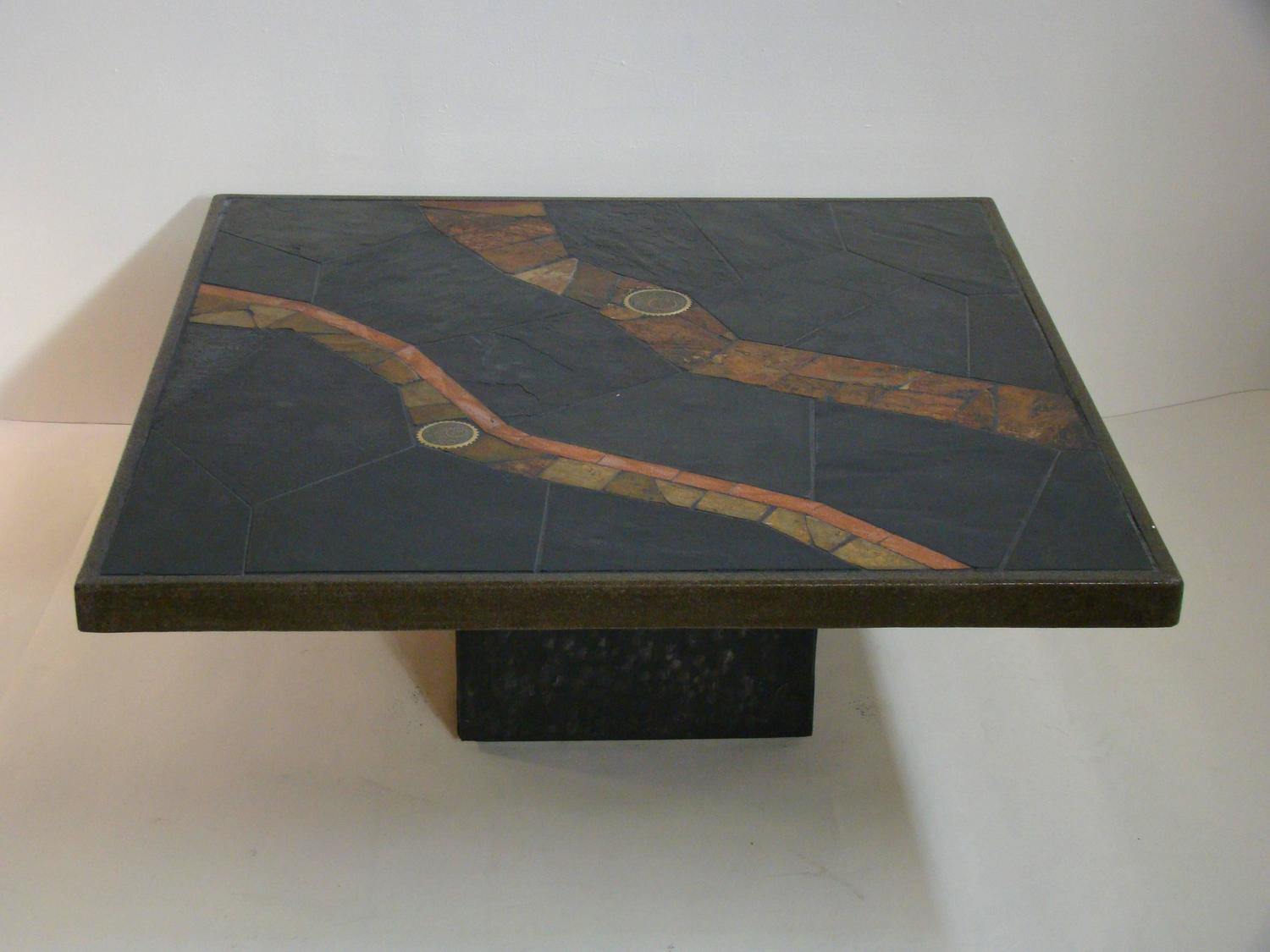 African Slate Mosaic Tile Coffee Table In The Manner Of Paul Kingma At