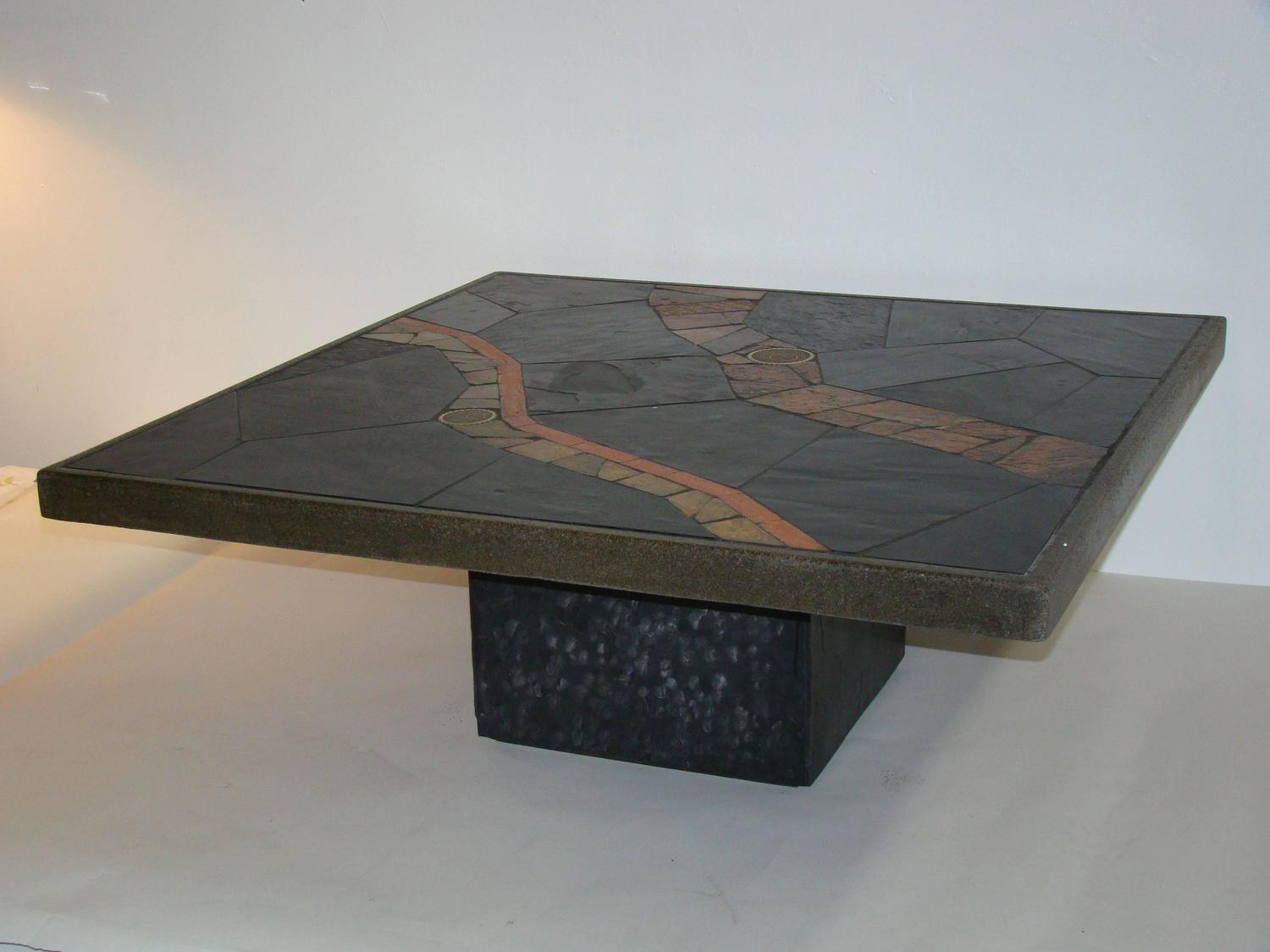 African slate mosaic tile coffee table in the manner of for Tile coffee table