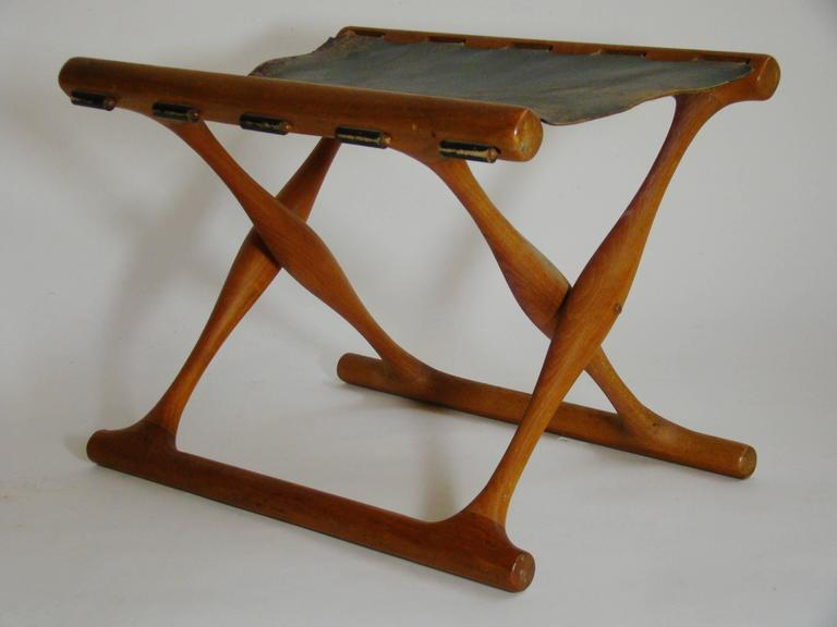 Poul Hundevad Teak Leather Gold Hill Stool  SATURDAY SALE 2
